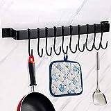 BTsky Support mural pour casseroles avec 10 crochets - Ustensiles de cuisine, tringle à suspendre, organiseur de couvercle, porte-serviettes, couvercle, noir