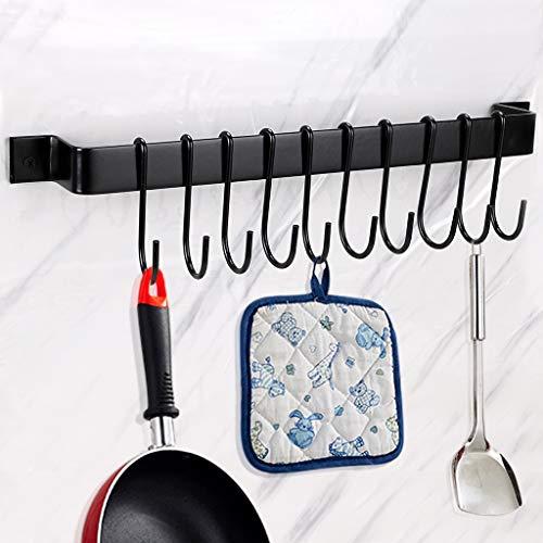 BTSKY - Soporte de pared para sartenes con 10 ganchos para utensilios de cocina, color negro