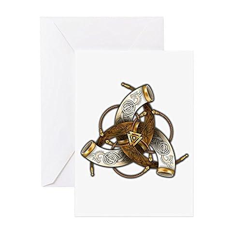 CafePress–Odin 's Triple Hörner–Grußkarte, Note Karte, Geburtstagskarte, innen blanko, (Celtic Horn)