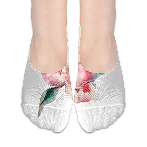 KKAIYA Women & Men Casual Low Cut Boat Sock invisible socks,Hand Drawn Watercolor Peonies Realistic Flower In Warm Color Palette Nature,Cotton Casual Athletic Socks,Scarlet Rose Green - Scarlet Fishnet
