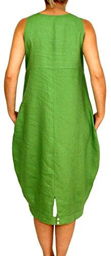 24098 PERANO Damen Leinen Sommerkleid Ballonkleid Grün