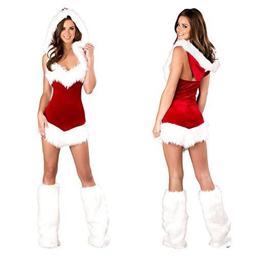 Averyshowya SantaClausKostümweihnachtskleider fur damenFrauen Sexy Christmas Festival Kostüme Weibliche Pure Red Cord Halloween Uniform Rollenspiele für Erwachsene @ 19_Original
