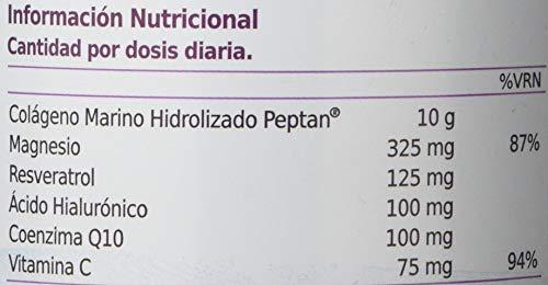 Exclusivo Colágeno Marino Hidrolizado + Ácido Hialurónico + Magnesio + Coenzima Q10 + Resveratrol + Vitamina C - Piel nutrida y sin arrugas - Articulaciones lubricadas y sin dolor - Sabor Frutos Rojos