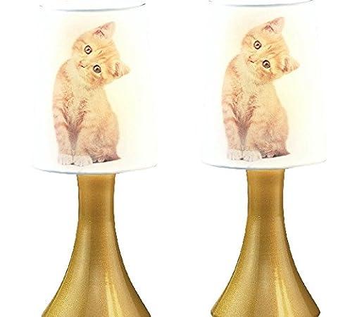 Touch Lampe 2er Set mit roter Katze Nachttischlampe gold Katzenmotiv