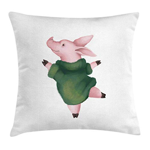 HLKPE Farm Animal Throw Pillow Cushion Cover, Childish Image of Artistic Drawn Dancing Cute Pig in Warm Sweater, Decorative Square Accent Pillow Case, Rose Reseda Green White,24 X 24 Inches - Accent Sweater
