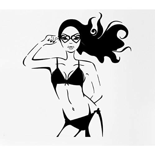 Mädchen Vinyl Wandtattoo Frau Teen Badeanzug Sonnenbrille Wandbild Wandaufkleber Schönheitssalon Bekleidungsgeschäft Dekoration 88x56cm
