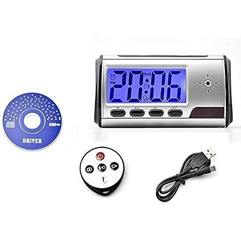 Despertador Flylinktech Blu-Ray WiFi Reloj Despertador Digital de Mini DVR Cámara Oculta Espía con Detector de Movimiento + Control Remoto