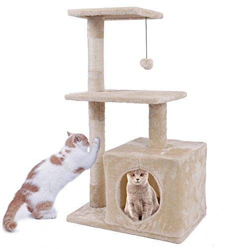 Kratzbaum Katzen Kletterbaum Höhe 85 cm Katzenhöhle mit Ball Natur Sisalsäule Katzenspielzeug Schlafplatz für Kätzchen 2 Plattform Beige