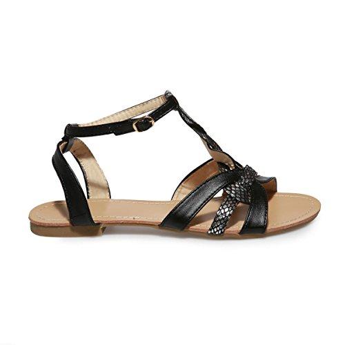 La Modeuse Sandales Plates Grande TailleFemme Noir