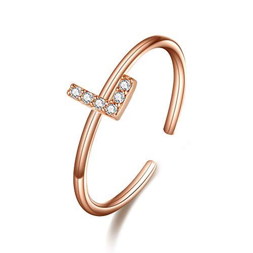 Clearine Damen Ring 925 Sterling Silber Zirkon verstellbare Premium Buchstaben L Alphabet Ring in Klar Rosa-Gold-Ton (Buchstabe L Herren-ring)