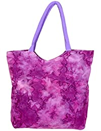 IndiWeaves Women's Handmade Ethnic Cotton Printed Tote Hand Bag_Pink_18X18 Inches