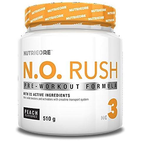 Nutricore N.O. Rush - 510gr fórmula pre-entreno, oxido nitrico, creatina, bcaas Melocotón