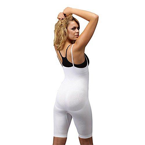 Formeasy Damen Shapewear mit eigenem BH tragen, Taillenformer mit Bein, stark formende Unterwäsche mit Bauchweg Effekt - Miederbody Figurformender Body Shaper Weiß