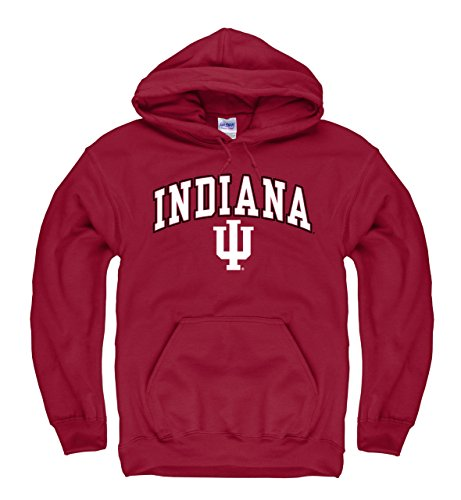Campus Colors Campus Farben Indiana Freiwurf (Film) Erwachsene Arch und Logo Sweatshirt mit Kapuze-Crimson, Herren, Rot, X-Large -