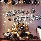 Party Propz Happy Birthday Letter Foil Balloon Set (Silver) + Pack of 50 Metallic Balloons (Black, Gold and Silver)