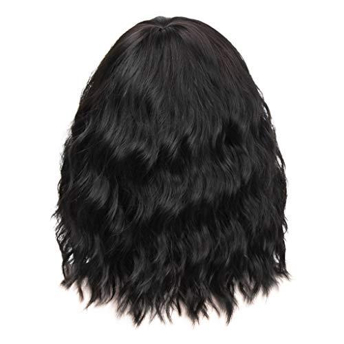 Schwarze Perücke Foxy (Damen Perücke Frauen Haar Wigs Blond Kurz Glatt für Cosplay Party Kostüm Herrenperücke Lang Heavy Metal Metaler (Schwarz))
