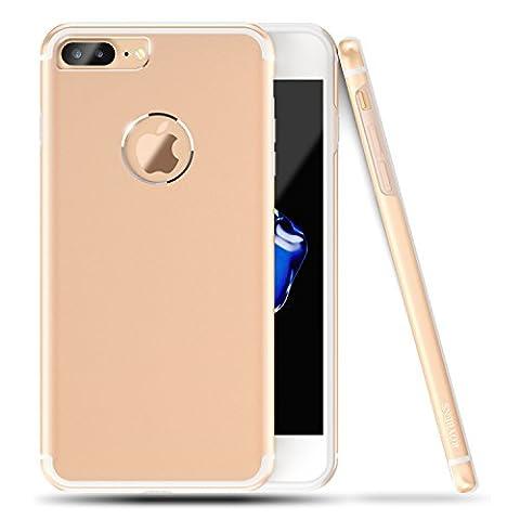 iPhone 7 plus Hülle, Roybens Metall Silikon 2 in 1 Extra Dünn Stoßfest Schalen Taschen + Panzerglas Schutzfolie Folie für 2016 Apfel [Apple] iPhone7 Plus, Gold