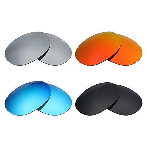 MRY 4Paar Polarisierte Ersatz Gläser für Oakley Gefährliche sunglasses-stealth schwarz/fire rot/ice blau/silber titan