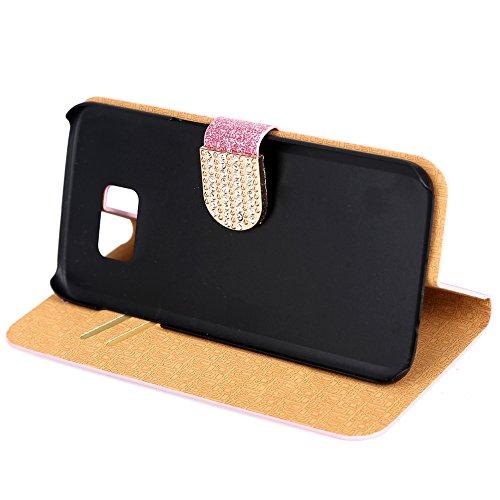 Fishberg Étui à rabat magnétique en cuir PU avec support pour Galaxy S6Edge Design luxueux et brillant Emplacements pour cartes rose