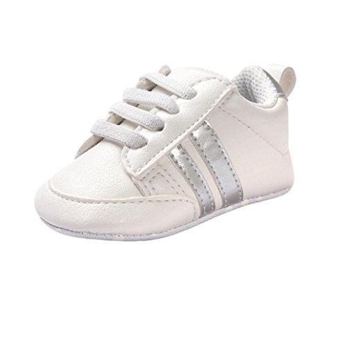 e Neugeborenen Leder T-Strap Schuhe Sportschuh Jungen Lauflernschuhe Mädchen Krippeschuhe Krabbelschuhe Streifen-beiläufige Wanderschuhe LMMVP (Silber, 12CM (6 ~ 12 Monate)) (Baby Schuhe Mädchen Silber)