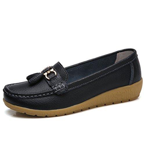 MatchLife Damen Vintage Leder Flach Pumpe Casual Schuhe Style7 Schwarz EU39/CH40