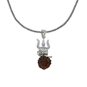 Rudraksha Damaru and Trishul Hindu Pendant and Chain 925 Sterling Silver