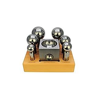 Proops Extra Large Doming Dapping 32 - 63mm, 6 Piece Punch & Jumbo Steel Dap Block Set. (J1328) Free UK Postage