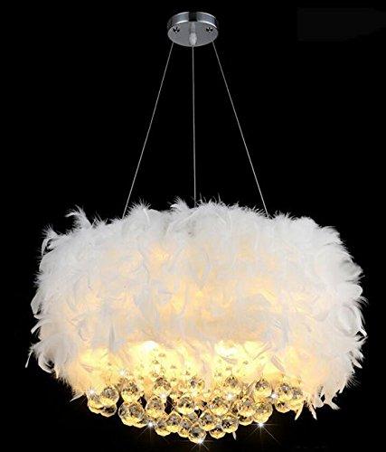 Moderne Kristallimitatfedern LED Leuchter Wohnzimmer Esszimmer romantischen romantischen Brautkleid Leuchter (Größe, Farbe optional) ( Farbe : Weiß-60 ) (Farbe Brautkleider)