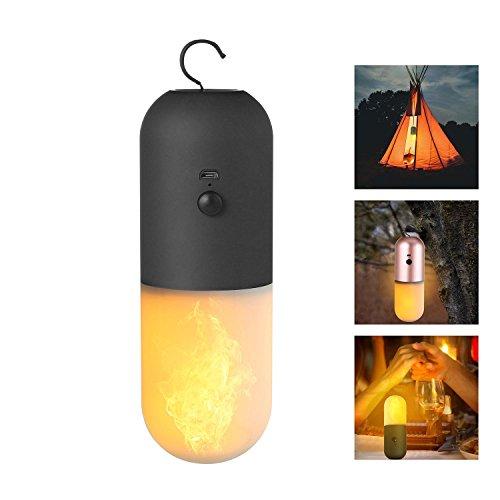 KOBWA Tragbare LED Flamme Lampe Handlampe Wiederaufladbare Campinglampe USB-Ladekabel Inklusive, für Weihnachten, Haus, Hotel, Bar, Festival Dekoration