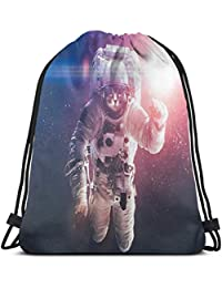 BBABYY Printed Drawstring Backpacks Bags,Flying Cat Without Gravity with Clusters Planet Eclipse Image,