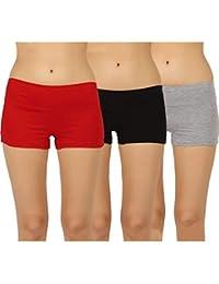 AJ FASHIONS Stretchable Spandex Soft Cotton Lycra Boy Shorts Panties - Pack of 1,2,3 (Skin,White and Black)