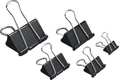 5 Star 296867 - Pack de 12 pinzas palas abatibles, 25 mm, color negro