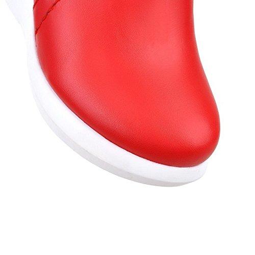 VogueZone009 Damen Reißverschluss Niedrig-Spitze Rund Schließen Zehe Hoher Absatz Stiefel Rot