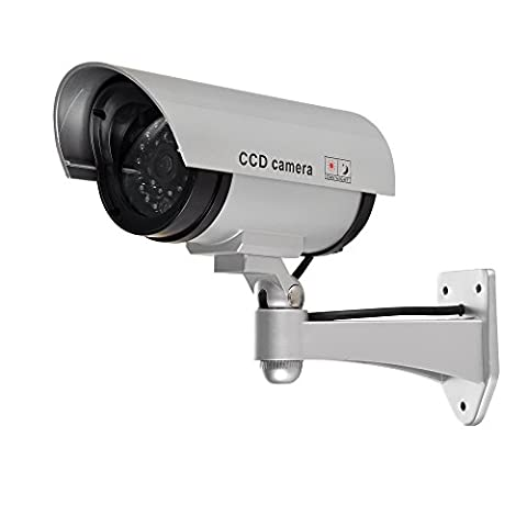 Dummy Security Camera, CCTV Surveillance System with Realistic Simulated Flashing LED for Indoor/Outdoor Use