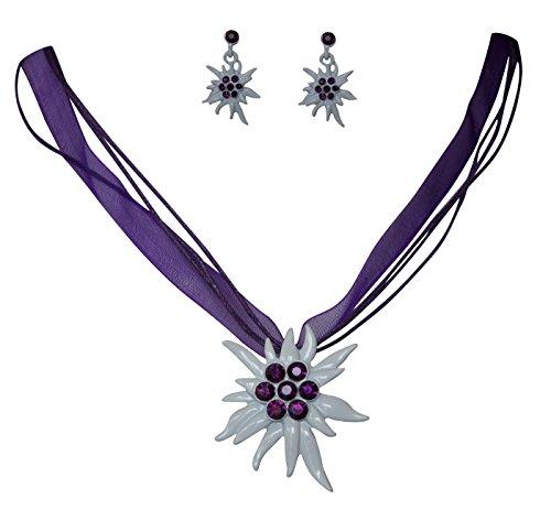 Edles Trachtenschmuck Dirndl Kristall Edelweiss Colllier Set - Kette & Ohrhänger (Amethyst violett)
