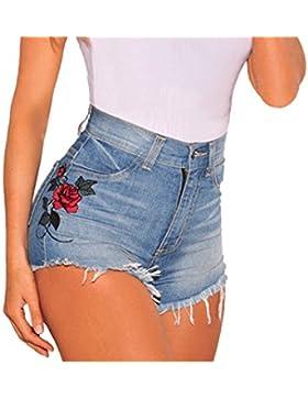 Donne Jeans Pantaloncini Skinny Shorts a Vita Alta Chic Ricamo Denim Corto Pantaloni Hot Pants Parigamba