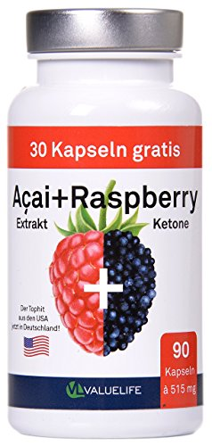 *Acai Berry + Raspberry Ketone + Colanuss + Folsäure – Pro Fettverbrennung – Pro Stoffwechsel – Pro Wohlbefinden – 90 Kapseln à 515mg (1*46,4g)*