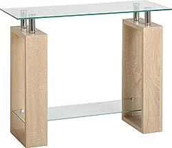 Seconique Milan Console Table, Glass, Sonoma Oak Effect Veneer/Clear/Silver