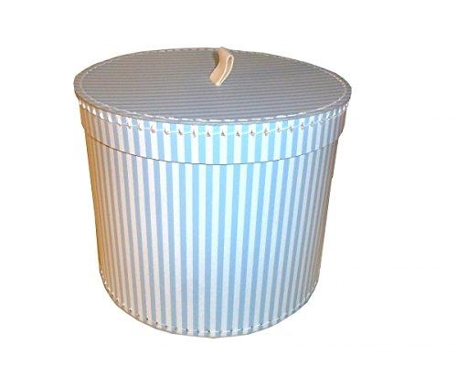 Pappdose Geschenkdose blau weiß gestreift 25 cm