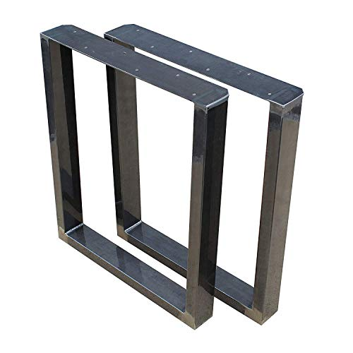 1 Paar (2 Stück) BestLoft Kufen - Tischkufen im Industriedesign aus Rohstahl (60x72cm, Transparent Pulverbeschichtet)