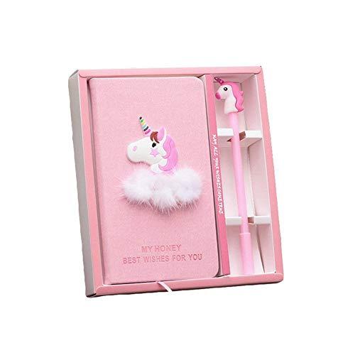 Juego de caja de unicornio rosa con bolígrafo de gel para artículos de papelería escolar, regalo para niños y estudiantes.
