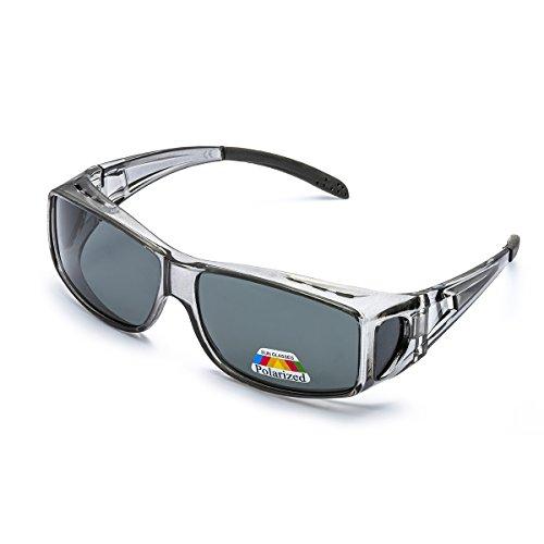 LVIOE Unisex Polarisiert Sonnenbrille Brille Überbrille für Brillenträger, Fit-over Polbrille für Herren und Damen 100% UVA UVB Schutz (Grau/Grau)