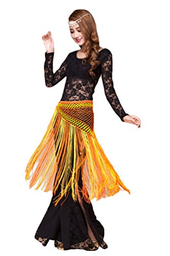 YiJee Damen Bauchtanz Kostüm Tops Spitzen Indischer Tanz Hose Bauchtanz Hüfttuch Schwarz M