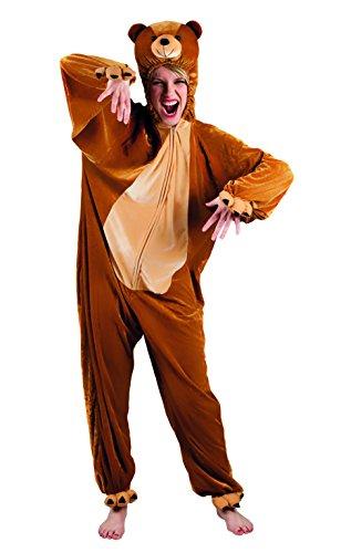 Boland - costume tuta peluche orso per adulti, marrone, max 1,80 m, 88016