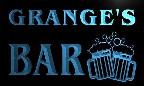 w017440-b GRANGE'S Nom Accueil Bar Pub Beer Mugs Cheers Neon Sign Biere Enseigne Lumineuse
