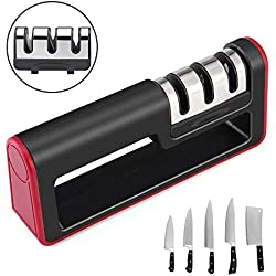 Aiguiseur de Couteaux Manuel Pathonor Affuteur Couteau de Cuisine Professionnel Système Manuel 3-en-1 pour Couteaux Ménagers de Toutes Tailles Base Anti-dérapante