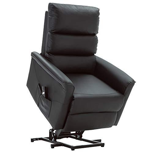 MCombo Elektrisch Aufstehhilfe Fernsehsessel Relaxsessel elektrisch verstellbar (Schwarz)