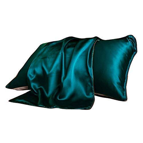 SUNYUM Kissenbezug, 100% Reine Maulbeerseide, Standardgröße 19 Momme, 600 Fadenzahl für Haar und Haut, mit verstecktem Reißverschluss, hypoallergen, weich, atmungsaktiv, Seide, 1 Stück Jade (Jade Haar-stück)