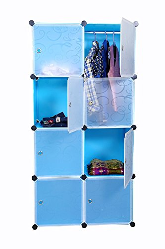 Kurtzy Wardrobe Organizer Storage Rack for Kids and Women Clothes Cabinet Bedroom Organiser Boxes with 8 Doors and Shelf
