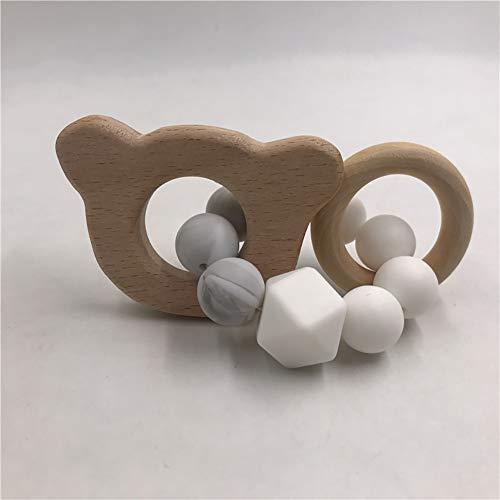 xnbnsj Baby Armband aus Holz in Tierform Bio-Holz Silikon Perlen Baby Rassel Kinderwagen Zubehör Spielzeug